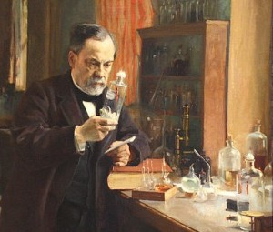 Louis Pasteur with rabbit spine