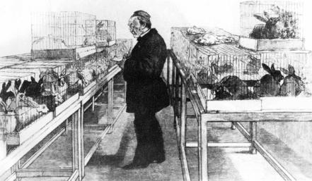 Louis Pasteur with rabbits